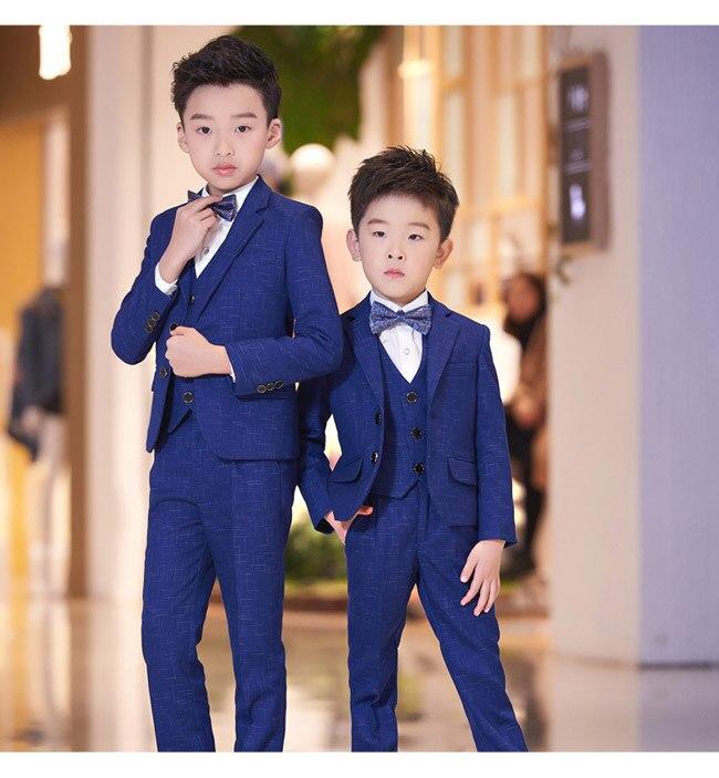 6 Pcs Blue Black boys gentleman suits for weddings kids Blazer Suit for boy costume garcon mariage tuxedo School clothing set стоимость