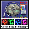Free Shipping 100 sets SMD 5050 60 LED / M RGB Strip 5M 300 LED DC12V SMD tape string light lighting LED Strip + 44 Key Remote
