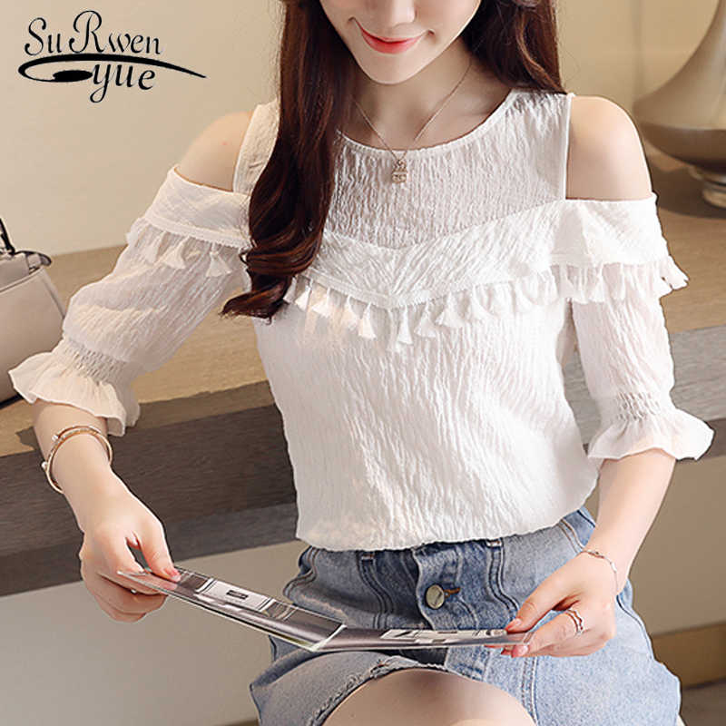 إمرأة قمم و البلوزات نصف مضيئة كم شرابة بلوزة شيفون زائد حجم قمم النساء قمصان blusas femininas elegante 3123 50