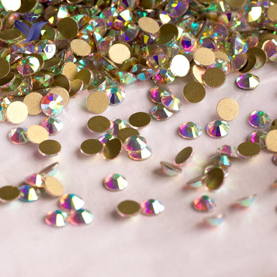 YANRUO 2058NoHF SS20 cristal AB Non HotFix strass Nail Art Flatback strass HotFix cristaux pierres pour vêtements