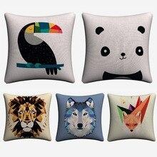 Minimalist Geometric Panda Lion Animal Decorative Pillow Cover For Sofa Home Decor Linen Cushion Case 45x45cm Throw Pillow Cases цены