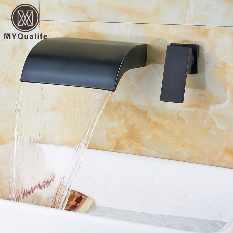 Moderne Twee Gat Wandmontage Een Handvat Waterval Messing Wastafel ...