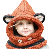 Cute Baby Hat Winter Windproof Cat Ear Fox Shaped Childre Hat And Scarf Set Handmade Knitted