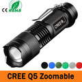 Mini Powerful LED Flashlight CREE Q5 2000LM LED Laterna 3 Modes Zoomable Portable 6 Colors Torch penlight 1*AA/1*14500