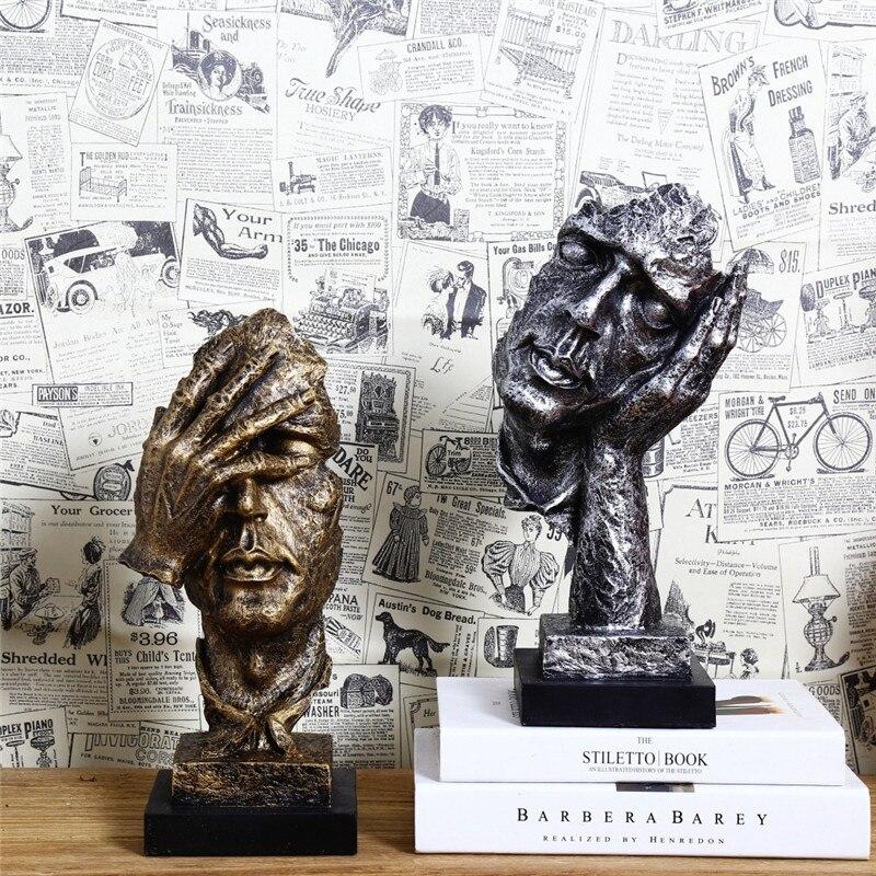 Retro kreativní abstraktní postavy neposlouchejte hodinky sochařství domácí stolní dekorace řemesla dárek