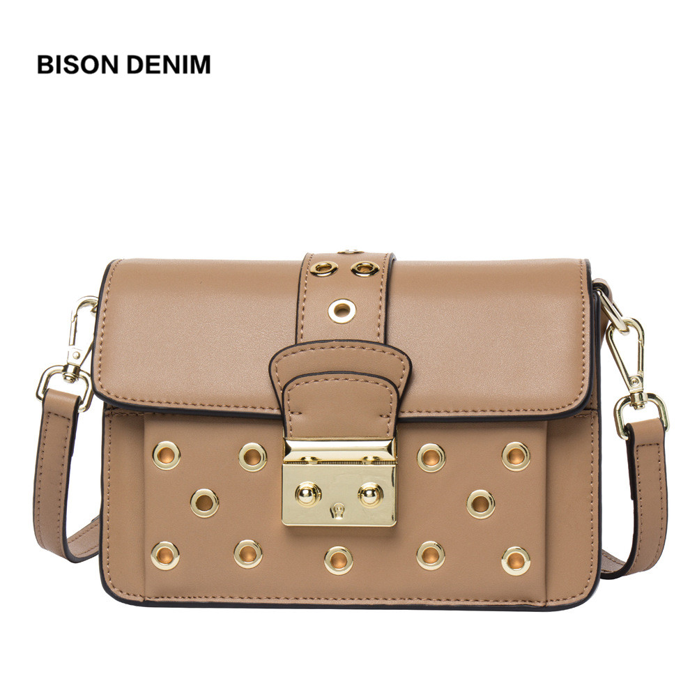 BISON DENIM 100% Genuine Cow Leather Hollow-out Luxury Women Shoulder Messenger Bags Fashion kanken Female Crossbody Bag N1403 цена