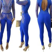 2017 New Fashion Body for Women Playsuits Women's Wear Sexy Night Club Long Sleeve Pants Jumpsuit Romper Female