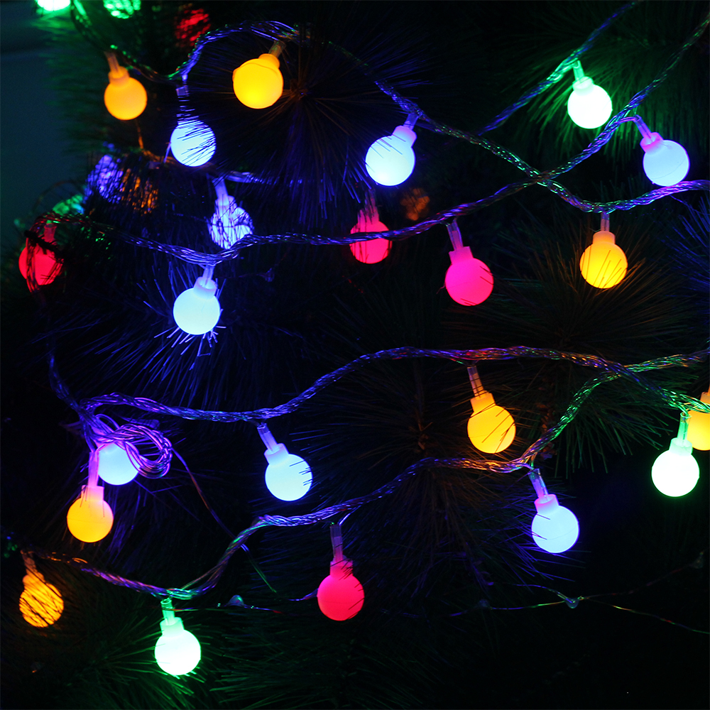 10M 100Leds Christmas Tree Garland String Ball Curtain Fairy Holiday Festival Lights EU Plug 220V snowy christmas tree pattern shower bath curtain