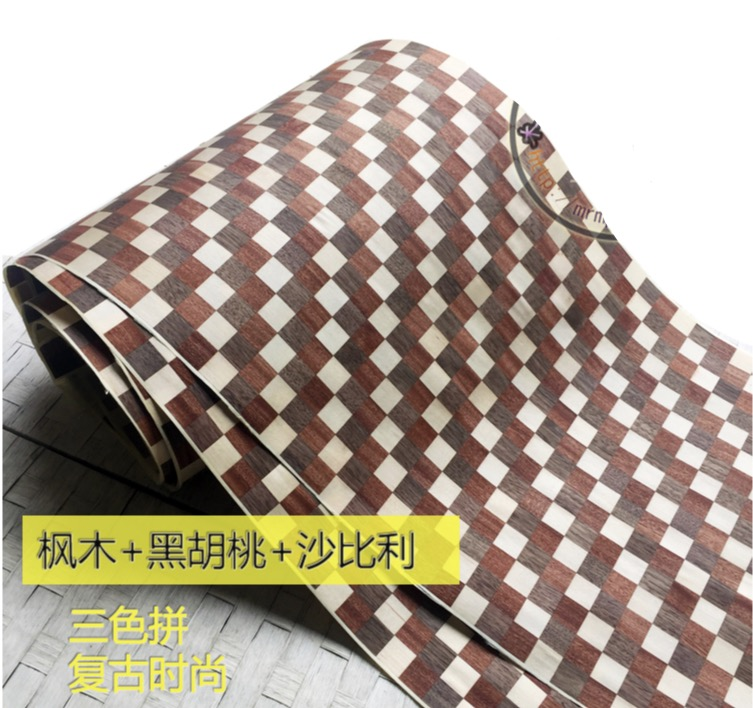 1Piece  2.5Meter Width:40cm Three Color Spliced Wood Veneer Skin