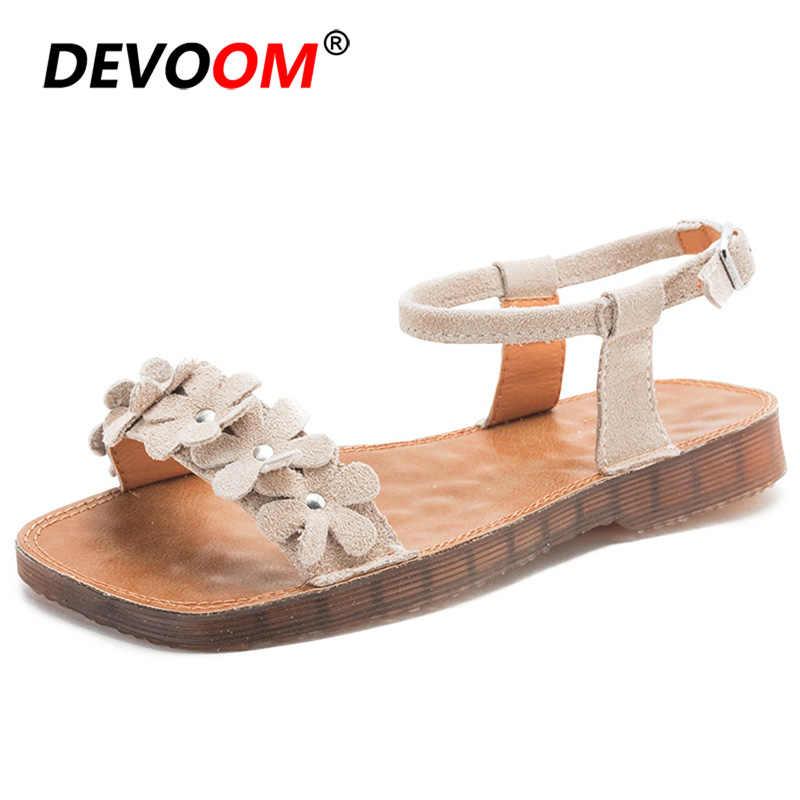 Nova womens cunhas flores sandales de pele femmes moda calcoes mulher sandalen venda quente senhoras sandálias plana sapatos de couro genuíno