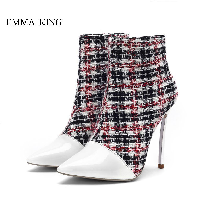 Gingham Patchwok Design Ankle Boots for Women Pointed Toe High Heels Shoes Botine Femmes Chaussures Spring Autumn Ladies ShoesGingham Patchwok Design Ankle Boots for Women Pointed Toe High Heels Shoes Botine Femmes Chaussures Spring Autumn Ladies Shoes