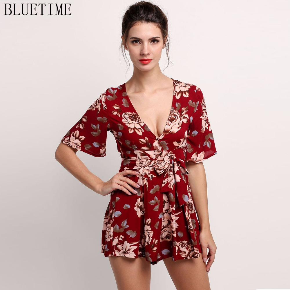 இsummer 2017 Women Shorts Romper Jumpsuit Boho Floral Sexy Deep V