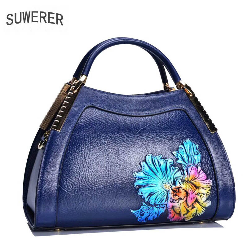 2018 New women Genuine Leather bags Embossed Fashion art handbags luxury tote women bags designer women leather handbags classic black leather tote handbags embossed pu leather women bags shoulder handbags elegant