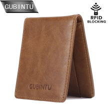 GUBINTU Casual Men Wallets  RFID Blocking Credit Card Holder Case Slim Genuine Leather Wallet Front Pocket Men's Purse Carteira
