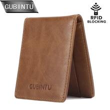 GUBINTU Casual Men Wallets  RFID Blocking Credit Card Holder Case Slim Genuine Leather Wallet Front Pocket Mens Purse Carteira