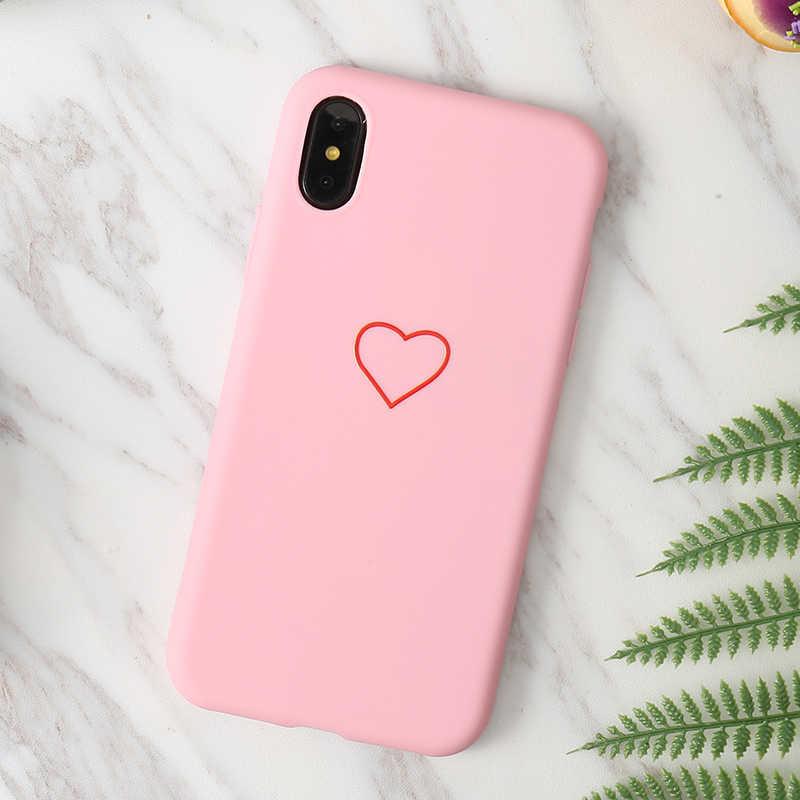 Yeni TPU silikon kılıf aşk kalp koruyucu yumuşak şeker renk arka kapak iphone için kılıf 5 5s se 6 6s 7 8 artı X XR XS Max