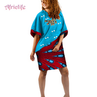 African Clothes for Women Dress T Shirt Women O Neck Cotton Casual Dashiki Dresses Loose Half Sleeve Knee length Dress WY4144