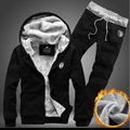 Толщину Внутренней Шерсти Мужчины Балахон Hat Повседневная Костюм Мужчины Молния Костюмы Для Мужчин Пиджаки + Брюки Плюс Размер 5XL