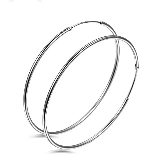New 925 Sterling Silver Simple Vintage 50MM 60MM Cirlce Hoop Earrings For Women Hypoallergenic Statement Jewelry Fashion Gift