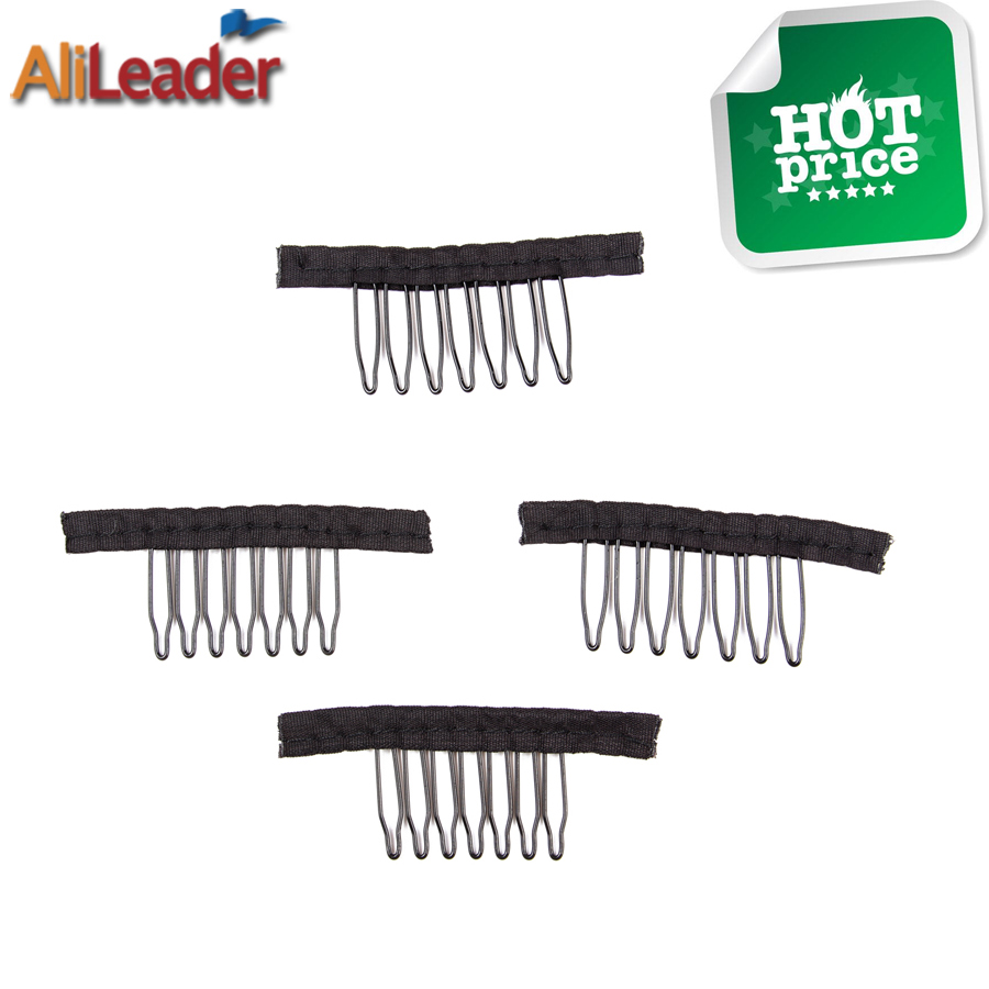 Top Quality Wig Combs Wig Clips 10-500Pcs Black Hair Clips For Wig Steel Tooth Polyester ...