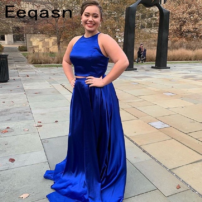 Royal Blue Two Piece Long Prom Dresses 2019 New Halter A Line Floor Length Formal Evening Cheap Women Party Gowns Plus Size