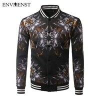 Envmenst Men S Jacket Spring Autumn Overcoat 2017 Men Fashion 3D Printed Stand Collar Slim Casual