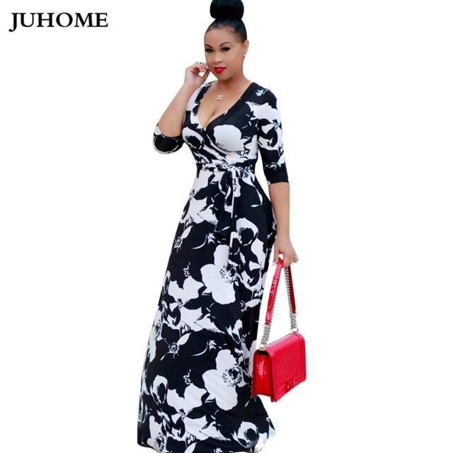 high quality casual dress 2018 3xl big size New Fashion floral Print long  maxi Dress Women autumn v neck elegant tunic vestidos cac8d75b5b99
