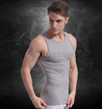 Envío gratis adelgaza hombres camiseta Slim Body Shaper Mens faja, alta calidad de la cintura Cincher hombres negro gris fajas