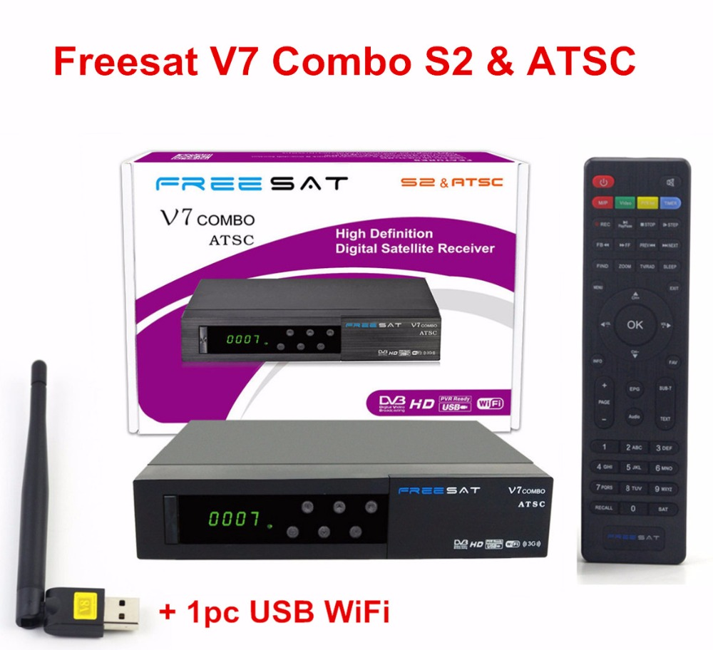 2pcs Freesat V7 Combo ATSC North America DVB S2 ATSC Satelite receiver Support powervu cccam biss
