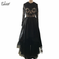 Black High Low Prom Dresses 2016 Ball Gowns Sexy Lace Long Sleeves Short Evening Party Dresses