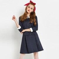 Sisjuly Women S Dresses 2017 New Fall Winter Dark Blue Peter Pan Collar Sashes A Line