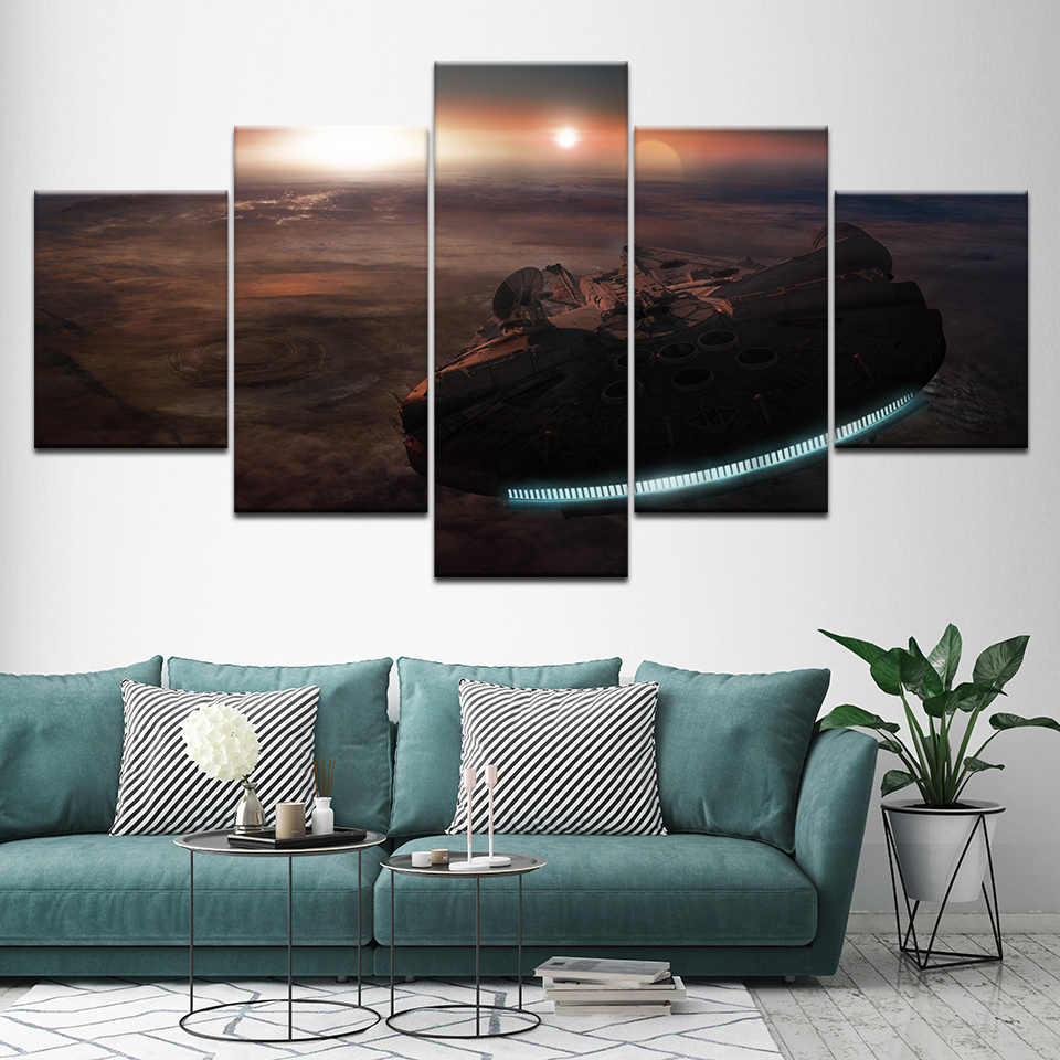 5 Panels Millenium Falcon Star Wars Canvas Painting Home Decoration Vintage Wall Art Picture for Living Room Framed Artwork