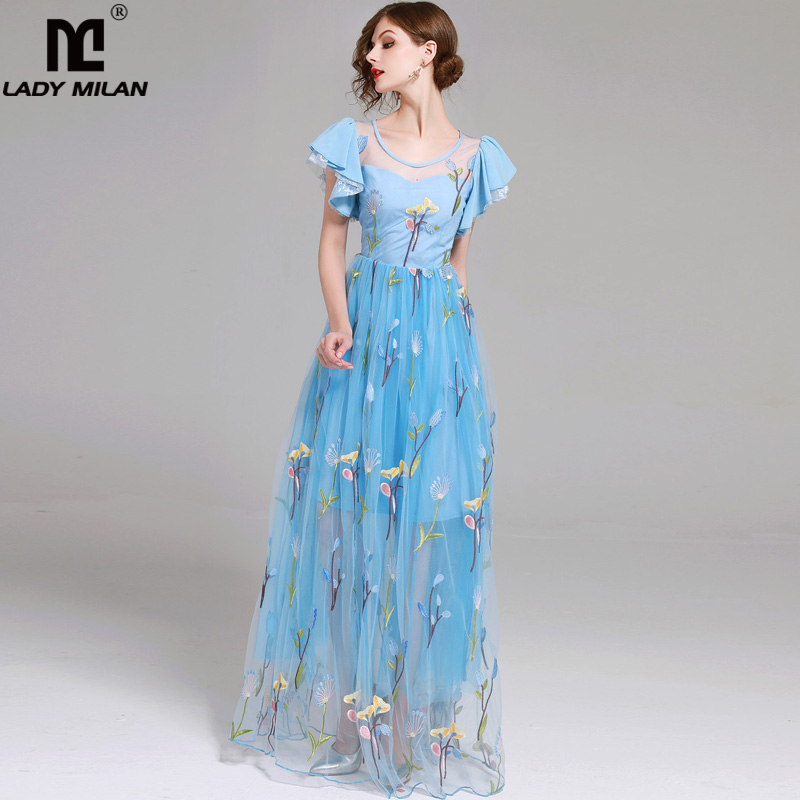 Lady Milan 2018 Womens O Neck Sexy Tulle Laid Over Embroidery Ruffles Party Prom Long Elegant Designer Dresses