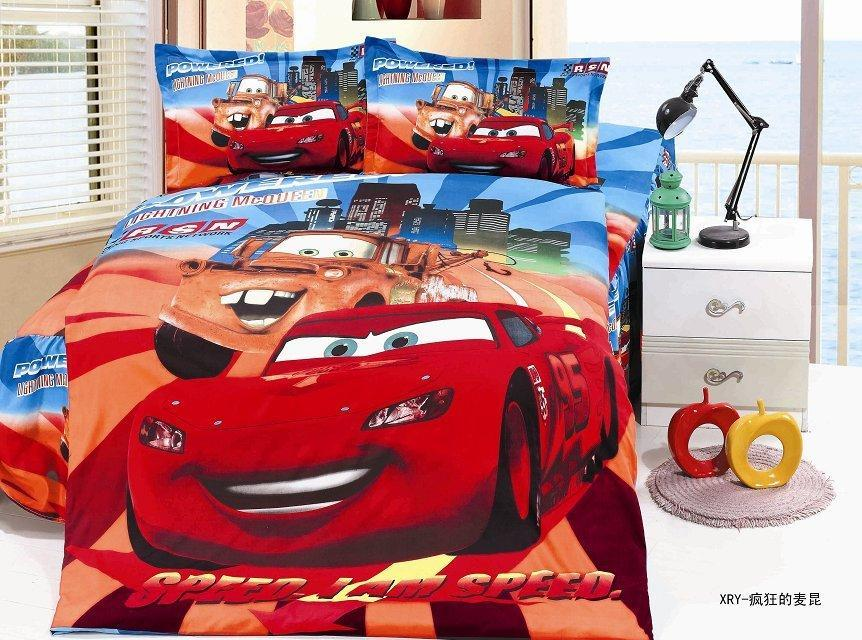Lightning mcqueen cars bedding sets children 39 s boys bedroom decor single twin size bed sheets - Cars bedroom set ...