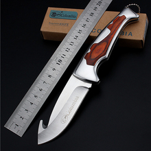 Columbia knives wooden handle fixed blade hunting knife survival folding Gut Hook Knife Free shipping