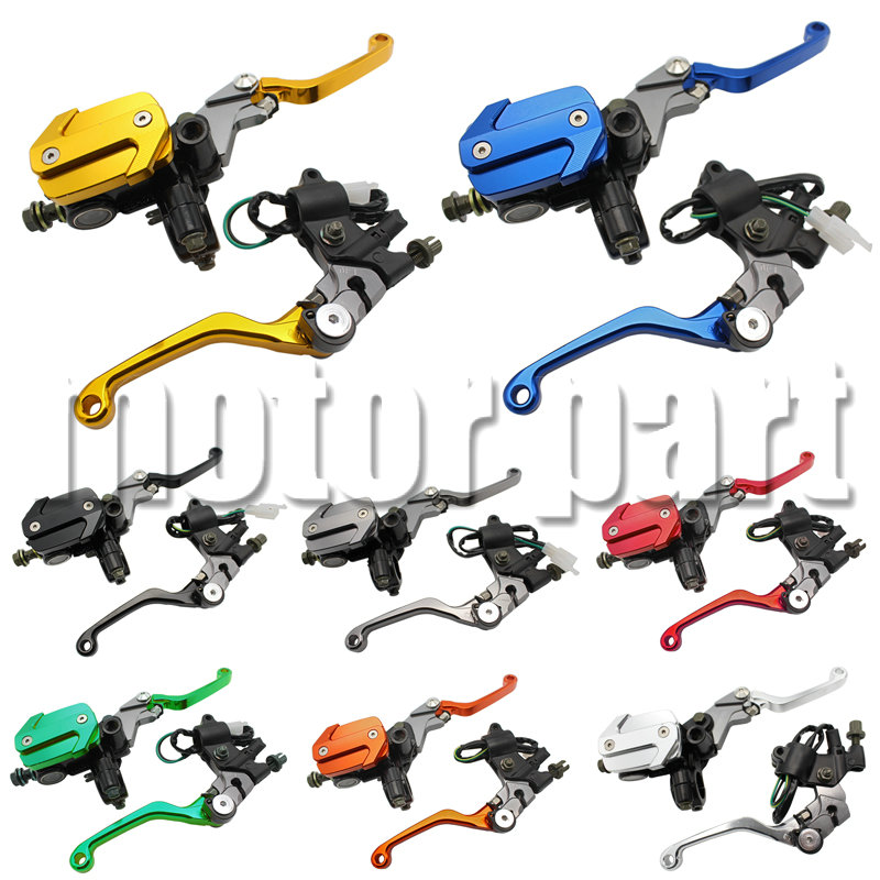 Dirt bike Handlebars 22MM 7/8 Hydraulic Brake Master Cylinder Reservoir Clutch Levers For Honda CR 80R 85R CRF 250R 230F 250L for honda crf 250r 450r 2004 2006 crf 250x 450x 2004 2015 red motorcycle dirt bike off road cnc pivot brake clutch lever