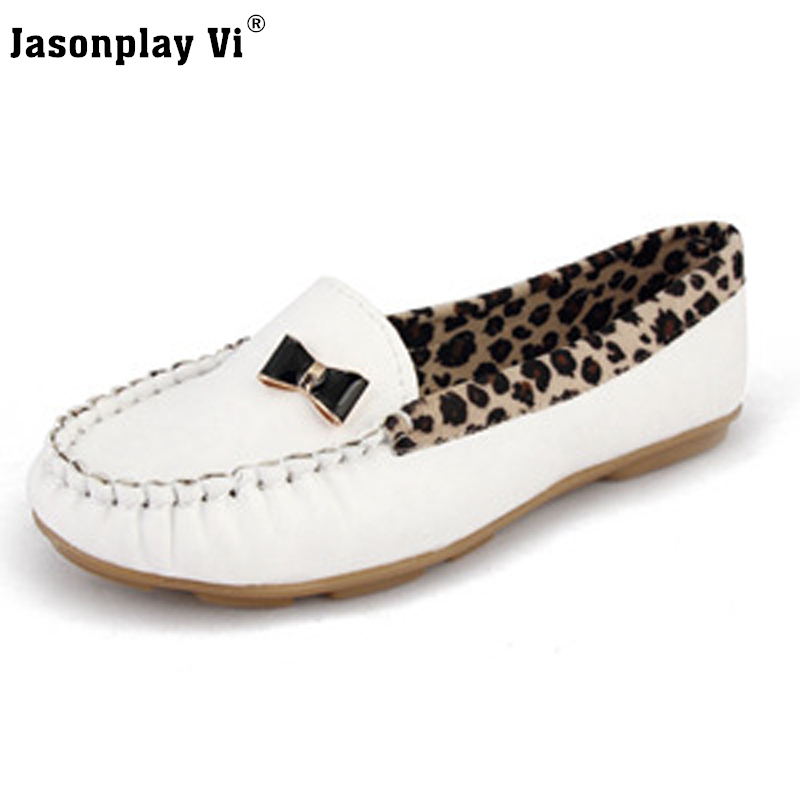 Jasonplay Vi &2017 New fashion leopard Women Flats shoes moccasin-gommino comfortable 4 solid Color Women casual Shoes PDD17