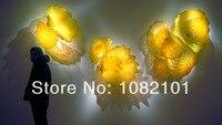 شحن مجاني فني رائع لامعة الأصفر الزجاج المنفوخ جدار ديكور لوحات