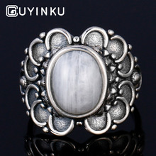 GUYINKU Oval Gemstone Hyperbole Natural Moonstone Rings Real Silver 925 For Girl Wedding Engagement Jewelry Drop Shipping
