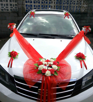 Simple Style Wedding Car Decorative Flowers Heart shaped Wedding Flowers Decoration Wedding Wreaths Decorative Flowers