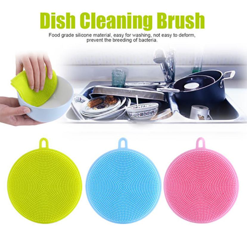 New1Pc Silicone Dish Washing Sponge Scrubber Kitchen Cleaning antibacterial Tool good quality Eco-Friendly 2018 hot sale C0308#0