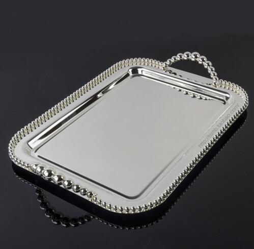 42*28 cm grand rectangle plateau de service en métal avec perle du dessert plateau plat support de gâteau avec poignée brillant argent FT028
