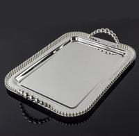 42*28cm large rectangle metal serving tray with bead around dessert tray dish cake stand with handle gloss silver FT028