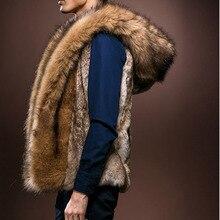 Mens Fur Vest Waistcoat 2019 Winter Warm Faux Hooded Plush Fashion Coat Imitation Wild Rabbit Hair