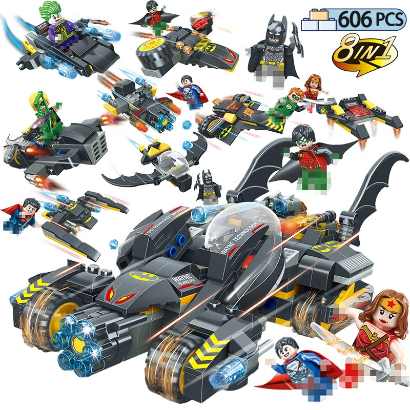 606PCS Superheroes Movie Batman Chariot Model Building Blocks Compatible Legoing Marvel Super Hero Universe Figures Toys For Kid