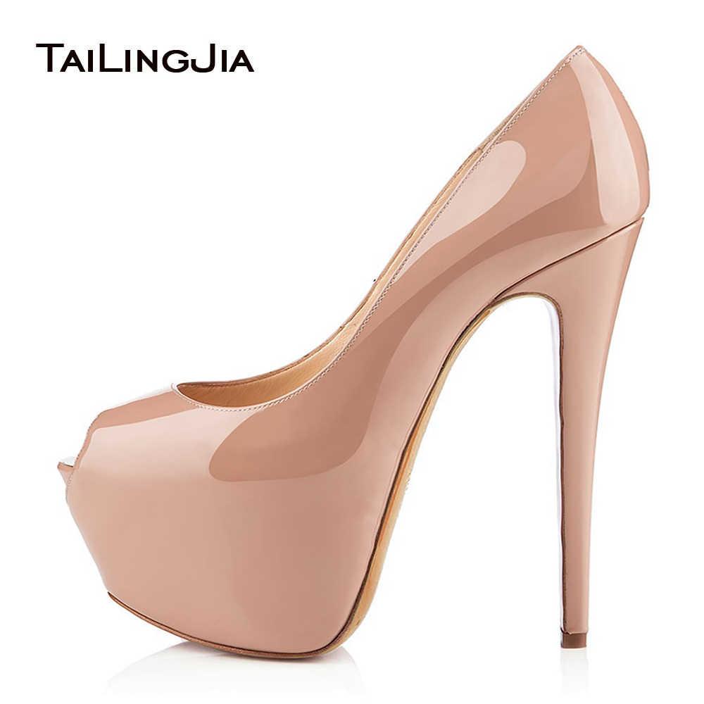 56ae58402 Открытые туфли-лодочки на платформе и высоком каблуке с открытым носком,  блестящие черные туфли