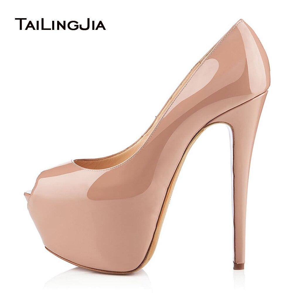 Nude Peep Toe High Heel Platform Pumps Shiny Black Stiletto Heels Sexy Dress Shoes Women Summer Shoes Large Size Platforms 2018
