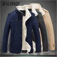 AILOOGE New Men Wool Blend Fashion Winter Jacket Men Fleece
