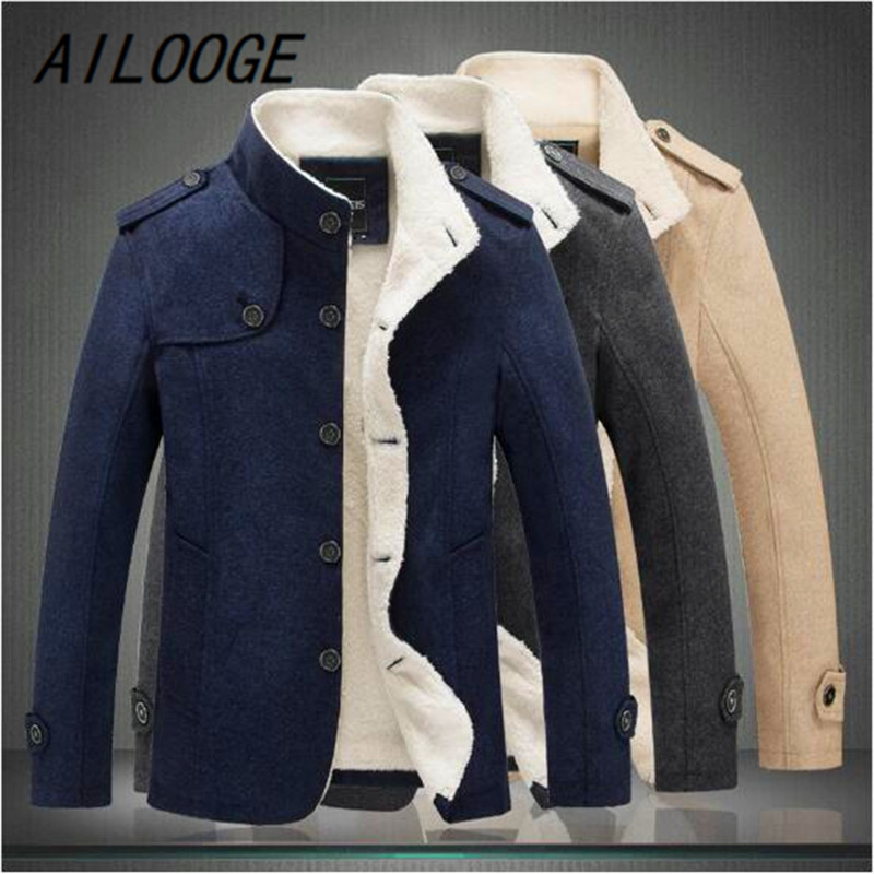 AILOOGE New Men Wool Blend Fashion Winter Jacket Men Fleece Lined Thick Overcoat Male Wool Coat Peacoat Outerwear