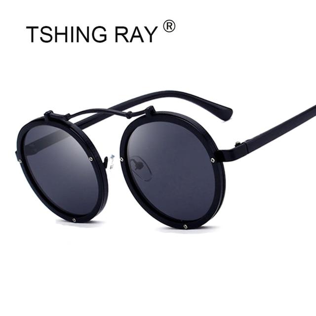 TSHING RAY Steampunk Rodada Óculos De Sol Das Mulheres Dos Homens de Moda  Estilo Punk Óculos de Sol Espelho Retro Masculino Feminino Óculos Goggle d5aee1fa51